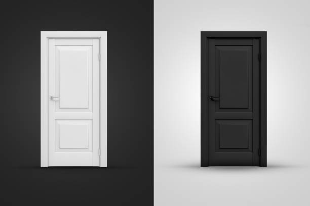 3d rendering of two contrast doors in white and black colors on background of opposite shade.