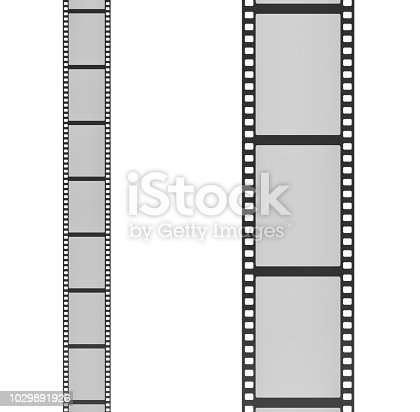 3d rendering of two film strips placed vertically next to each other one with small and the other with big frames. Retro home cinema. Movie history. Films and photographs.