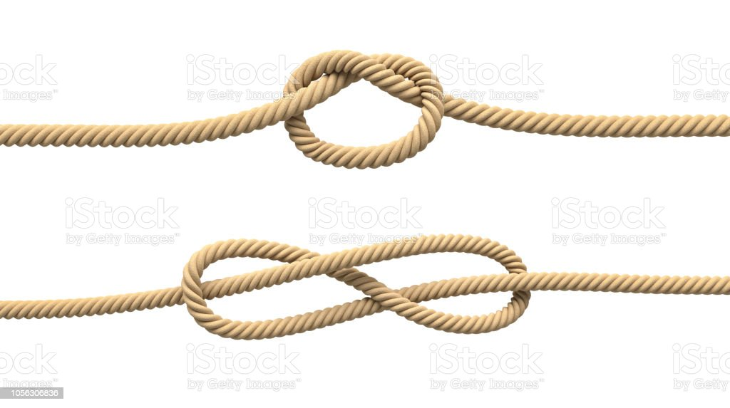 3d Rendering Of Two Isolated Lines Of Natural Rope With Loose Knots