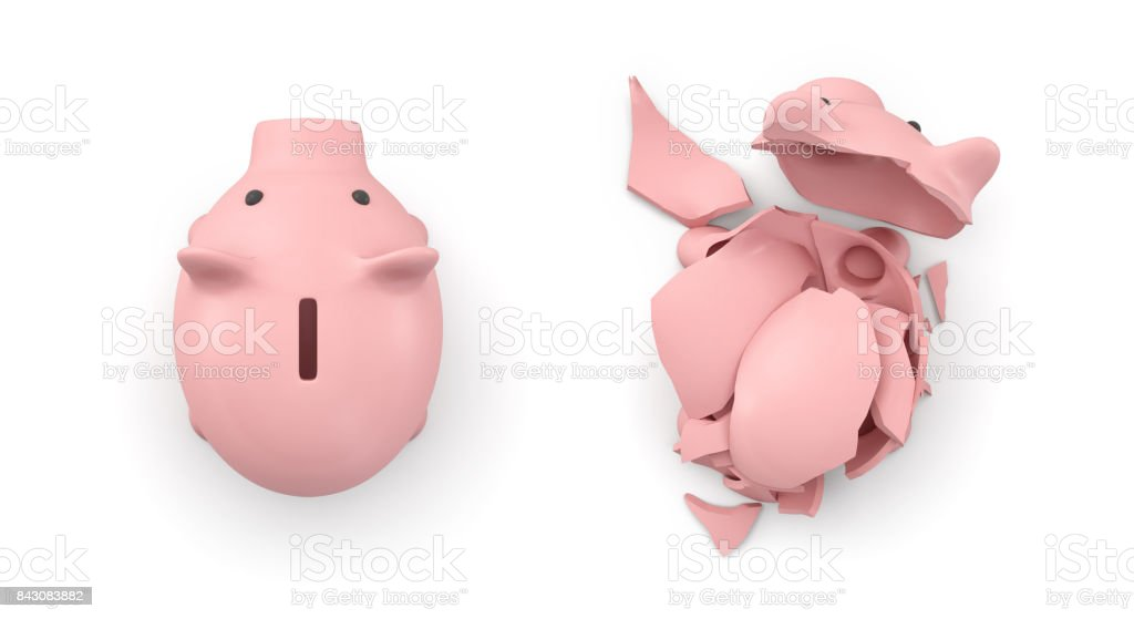 3d rendering of two isolated piggy banks in top view where one is intact and another is broken stock photo