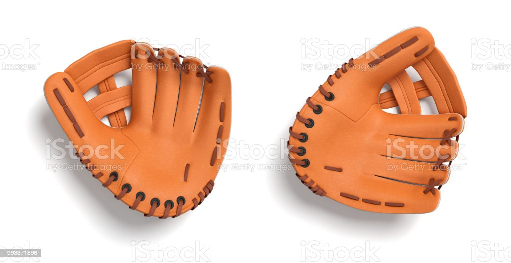 3d rendering of two left handed orange baseball gloves lying on a white background in a top view stock photo
