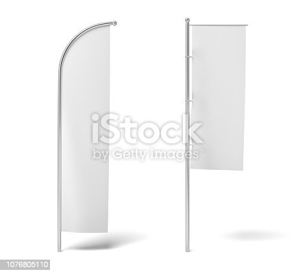 istock 3d rendering of two monochrome white flags hanging on posts on a white background. 1076805110