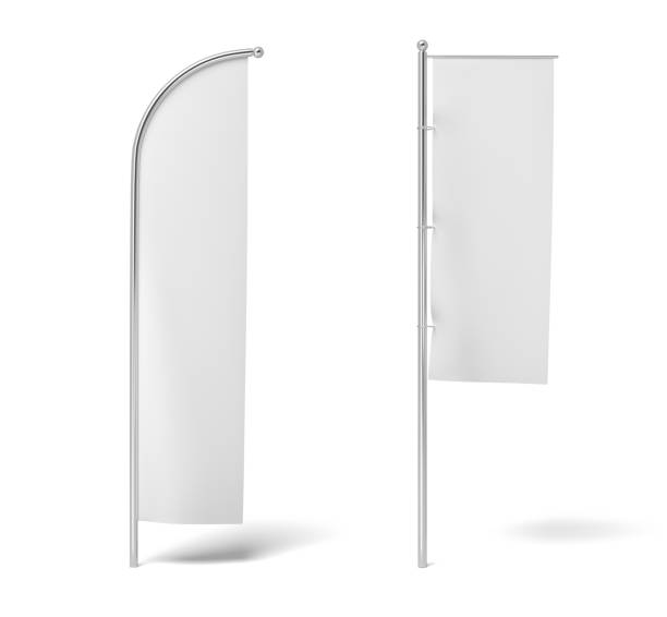 3d rendering of two monochrome white flags hanging on posts on a white background. 3d rendering of two monochrome white flags hanging on posts on a white background. White flag. Symbols and signs. Advertisement. flags stock pictures, royalty-free photos & images