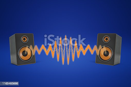 istock 3d rendering of two music speakers near each other and sharing one orange sound wave between them. 1165465666