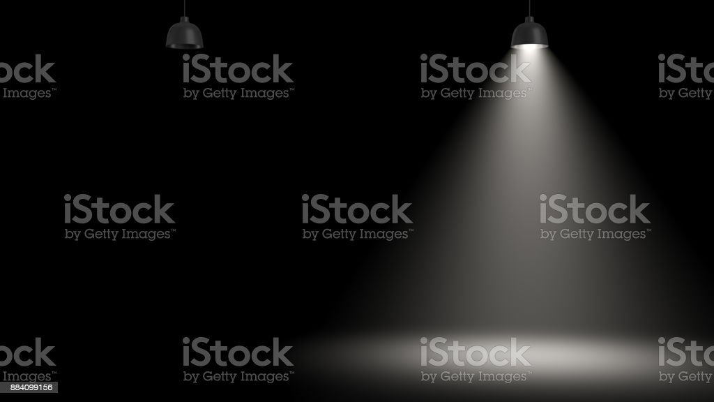 3d rendering of two pendant lamps with only one glowing in the darkness stock photo