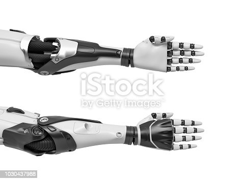 istock 3d rendering of two robot arms with hand fingers held straight and compact for a tight handshake 1030437988