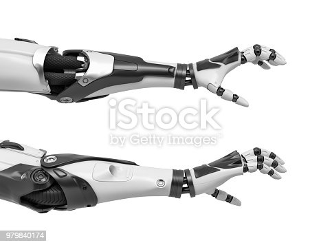 istock 3d rendering of two robot arms with hand fingers in grabbing motion on white background 979840174