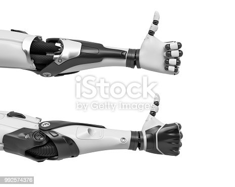istock 3d rendering of two robot arms with hand fingers in thumbs-up gesture of approval 992574376