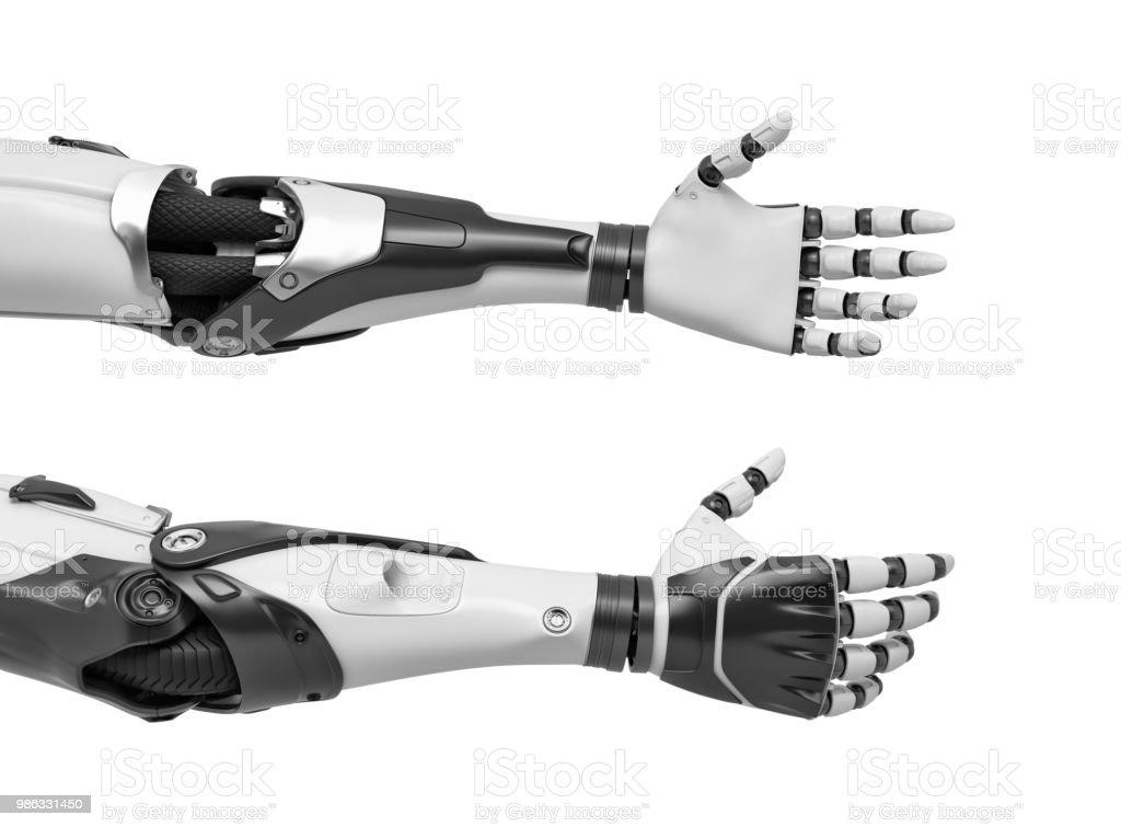 握手のため開きリラックス手と 2 本のロボット腕の 3 d レンダリング ロイヤリティフリーストックフォト