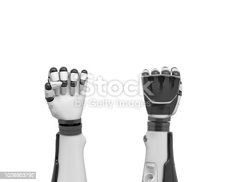 istock 3d rendering of two robotic arms in tight fists shown from the front and the back of the hands 1026953792