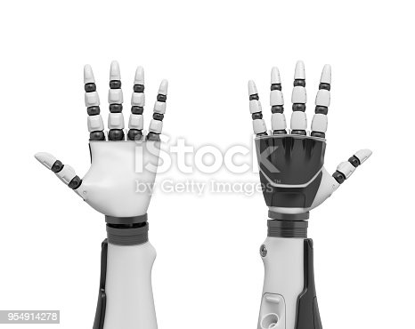 istock 3d rendering of two robotic arms with all fingers sticking out shown from the palm and from the back 954914278