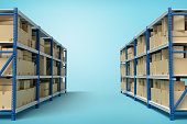 istock 3d rendering of two silver blue metal racks with cardboard boxes on blue background 1179110916