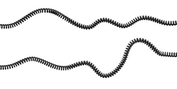 3d rendering of two strings of spiral rubber phone cables lying curled at a white background. - drut zdjęcia i obrazy z banku zdjęć