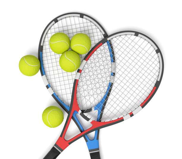 3d rendering of two tennis racquets of different colors with balls over them. stock photo