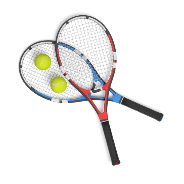 3d rendering of two tennis racquets of different colors with balls over them. - racket stock pictures, royalty-free photos & images