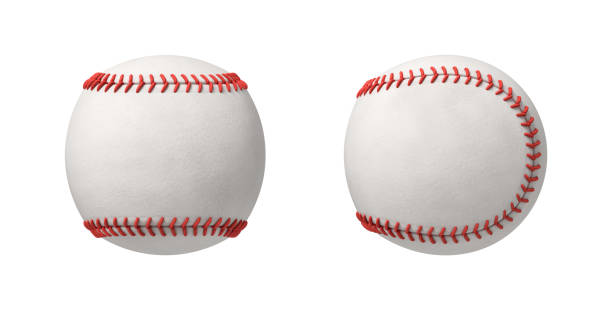 3d rendering of two white baseball isolated on a white background stock photo