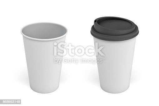 istock 3d rendering of two white coffee cups one with a black lid and one open on a white background 868663148