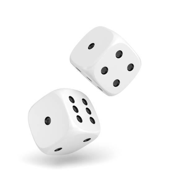 3d rendering of two white dice hanging on a white background - gioco dei dadi foto e immagini stock