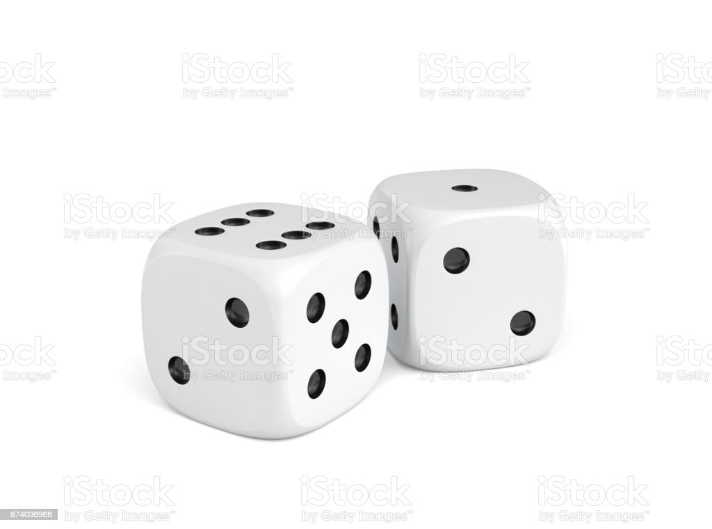 3d rendering of two white dice standing close to each other on a white background. stock photo