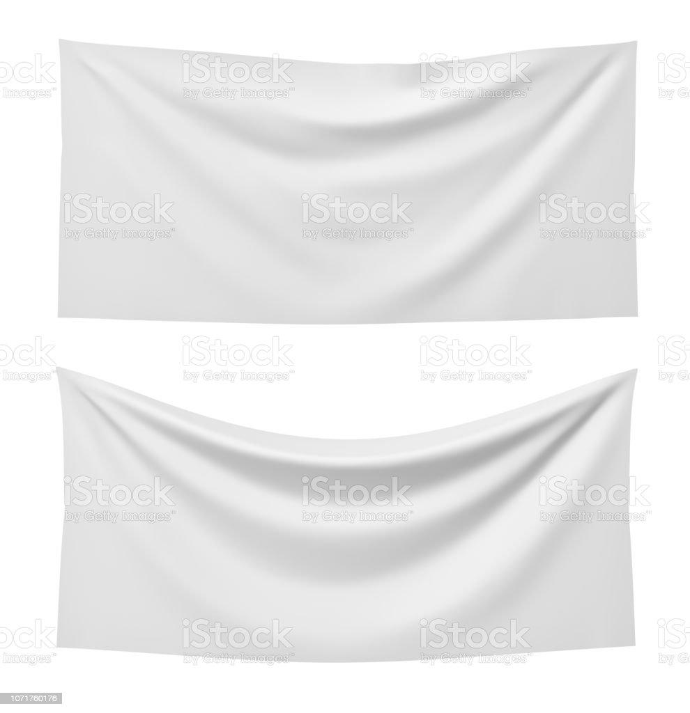 representación 3D de dos banderas del rectángulo blanco, uno recto y otro colgando hacia abajo sobre un fondo blanco. foto de stock libre de derechos