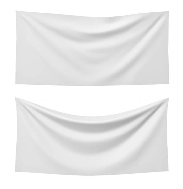 3d rendering of two white rectangle flags, one straight and another hanging down on a white background. 3d rendering of two white rectangle flags, one straight and another hanging down on a white background. Flags and symbolic. Political party accessories. Background for symbols. flags stock pictures, royalty-free photos & images