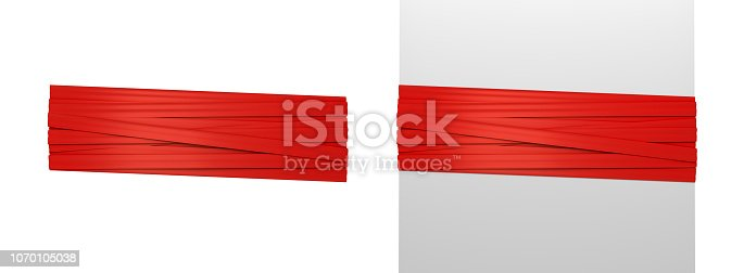 istock 3d rendering of two wide red strips of gift ribbon tied around a white post and around empty space. 1070105038