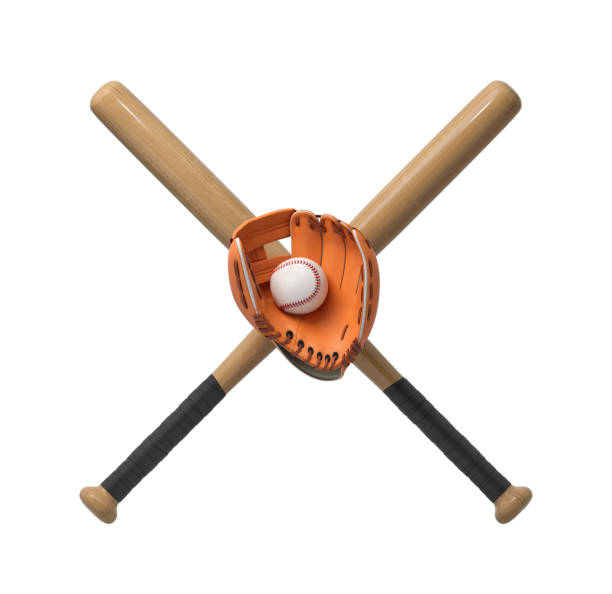 3d rendering of two wooden baseball bats with a wrapped handle, a glove and a ball itself on a white background. B stock photo