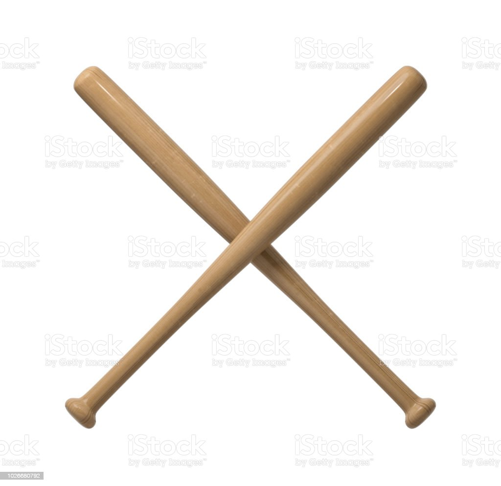 3d rendering of two wooden baseball bats with polish finishing making a cross shape on a white background stock photo