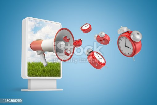 istock 3d rendering of vertical billboard with megaphone and red alarm clocks flying out on blue background 1180398259