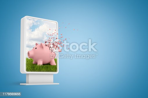 3d rendering of vertical billboard with pink piggy bank shattering into pieces on blue background. Outdoor advertising. Money and finance. Demolition and destruction.