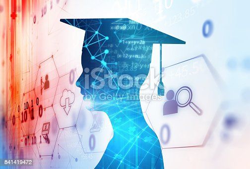 istock 3d rendering of virtual human silhouette on technology background illustration 841419472