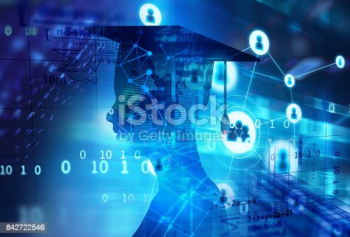 istock 3d rendering of virtual human silhouette on technology background illustration 842722546