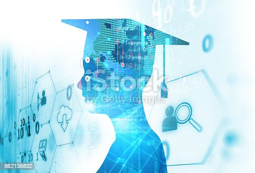 istock 3d rendering of virtual human silhouette on technology background illustration 862136832