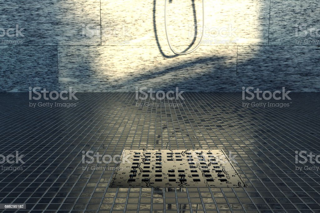 3d rendering of water drops on metal gutter stock photo