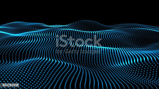 istock 3d rendering of wave particles background - 3D illuminated digital wave of glowing particles 854284538