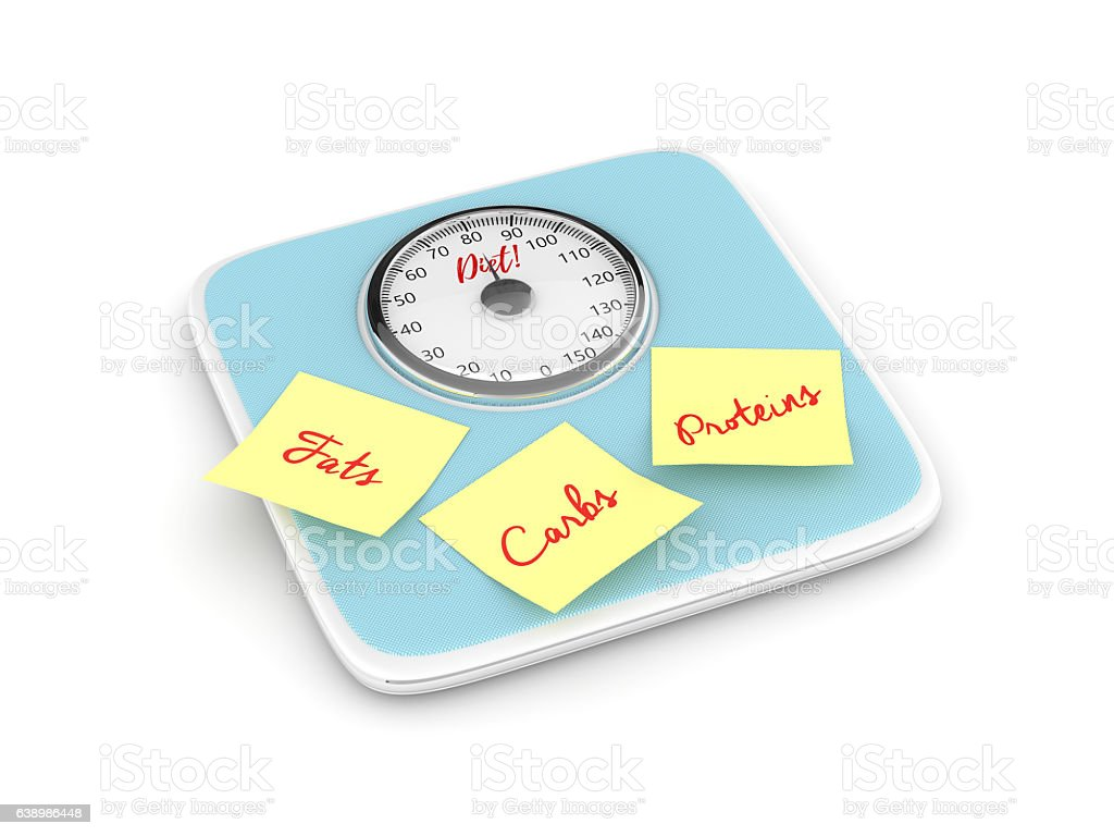 3d rendering of weight scale with notes stock photo