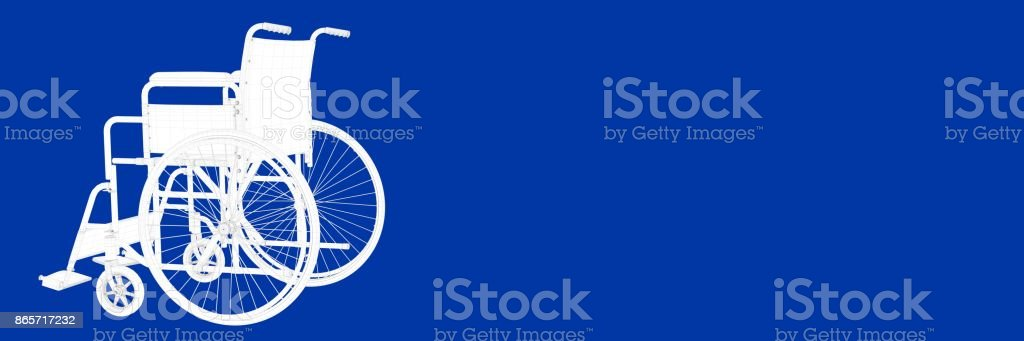 3d rendering of wheel chair on a blue background blueprint