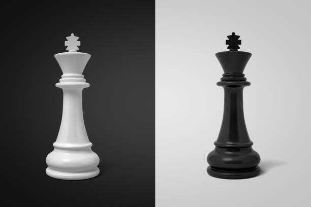 3d rendering von weißen schachkönig auf schwarzem hintergrund und schwarzer schachkönig auf weißem hintergrund - könig stock-fotos und bilder