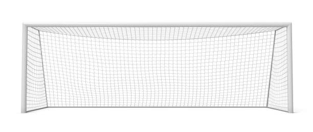 3d-rendering van witte lege voetbal gates geïsoleerd op een witte achtergrond. - scoren stockfoto's en -beelden