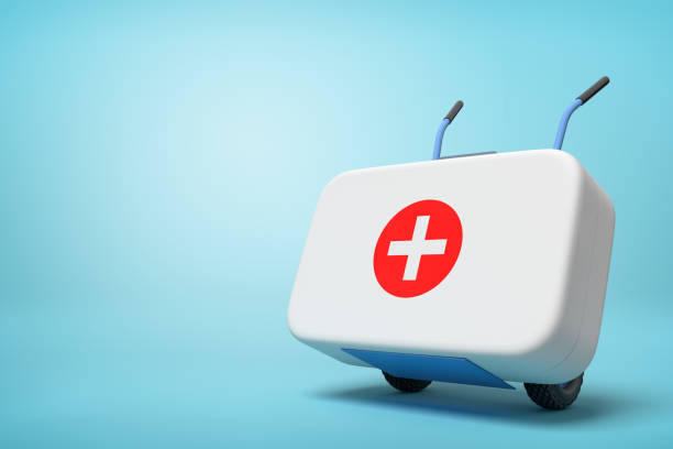 3d rendering of white first aid medical box on a hand truck on blue background