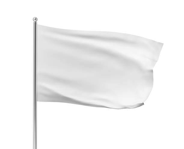 3d rendering of white flag hanging on post and wavering on a white background. stock photo