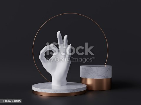 istock 3d rendering of white hand, okay sign gesture, marble pedestal isolated on black background, good quality concept, gold round frame, blank cylinder podium, simple clean design, luxury minimal mockup 1166774335