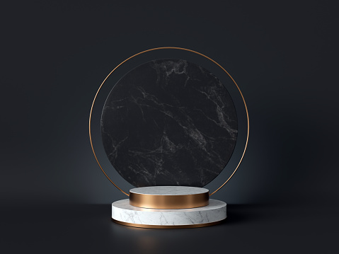 istock 3d rendering of white marble pedestal isolated on black background, round gold frame, memorial board, cylinder steps, abstract minimal concept, blank space, clean design, luxury minimalist mockup 1166774040