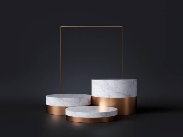 黒い背景、金の正方形のフレーム、3つのシリンダーブロック、抽象的な最小の概念、空白スペース、シンプルなクリーンなデザイン、贅沢なミニマリストモックアップに隔離された白い大理 - 見せる ストックフォトと画像