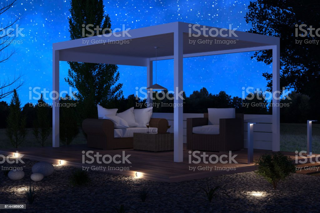 3d rendering of white patio roof outside at green garden with pebbles and shrubs iunder stars night sky stock photo