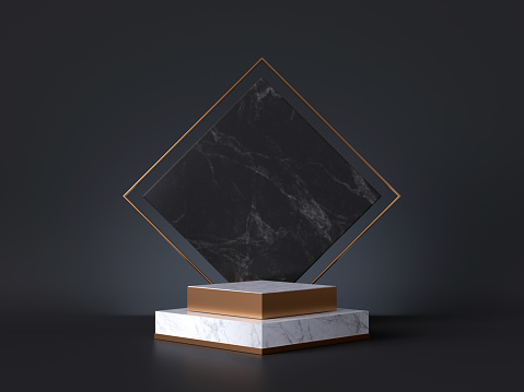 istock 3d rendering of white pedestal steps isolated on black, rhombus marble background, memorial board, art deco geometric frame, abstract minimal concept, blank space, clean design, minimal fashion mockup 1179653954