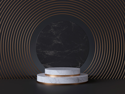 istock 3d rendering of white pedestal steps isolated on black, round marble background, memorial board, art deco geometric frame, abstract minimal concept, blank space, clean design, minimal fashion mockup 1178311271