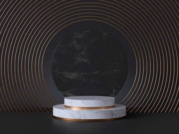 3d rendering of white pedestal steps isolated on black, round marble background, memorial board, art deco geometric frame, abstract minimal concept, blank space, clean design, minimal fashion mockup - cilindro formas geométricas imagens e fotografias de stock