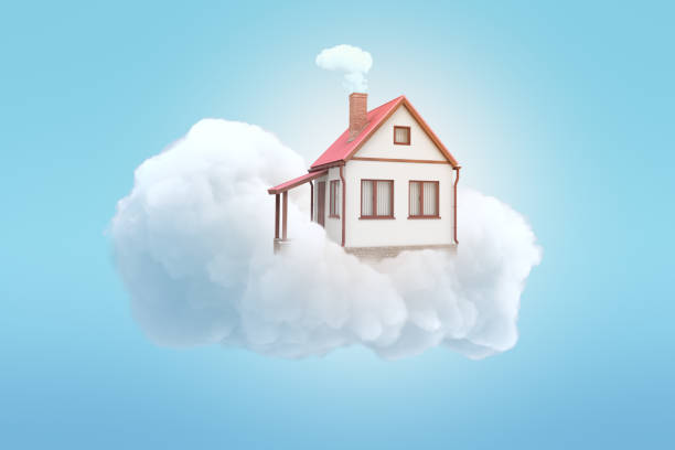 3d rendering of white private house on top of white cloud with blue background