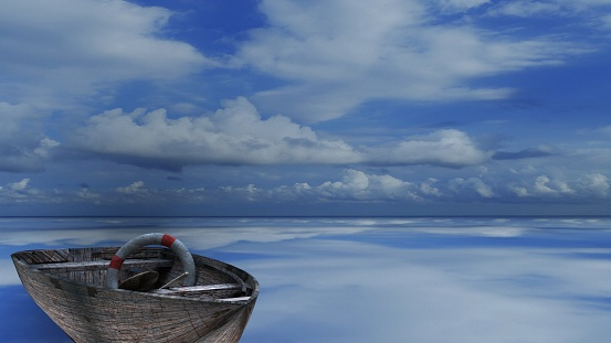The 3d rendering of wood boat on the beach with nice background